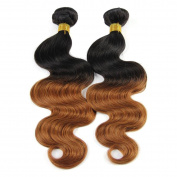 Babe Hair Body Wave 2 Bundles of 100g/pc 7A Ombre Wavy Brazilian Virgin Human Hair Extensions 2 Tone Remy in Colour Black/Auburn #1B/30 for African American Women