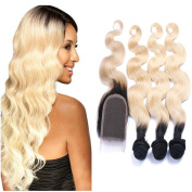 Carina Hair T1B/613 Body Wave Blonde Ombre Human Hair 3 Bundles with Lace Closure