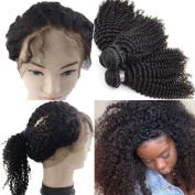 Atina hair Brazilian Hair Bundles with Lace Closure Kinkys Curly Hair Extensions 360 Frontal Lace Closure with Bundles 10 12 14 frontal 10