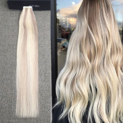 Full Shine 60cm PU Tape Extensions Glue in Seamless Human Hair Skin Weft Silkly Straight Tape in Ral Hair Extensions Piano Colour Double Side Tape