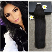 Full Shine 60cm 50g 20 Pieces Per Pakcage off Black Colour #1B Tape Hair Skin Weft 100 Real Human Hair Extensions Seamless Hair Extensions