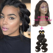 """New Style 60cm x 10cm x 2"""" 360 Lace Frontal Closure Natural Hairline with Baby Hair Add 2pcs Peruvian Body Wave Virgin Hair Bundles"""
