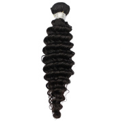 Grade 10A OBeauty Unprocessed Real Silky Brzailian Deep Wave Human Hair Extension of Hair Weft 1 Bundle Total Weight 100G, Natural Black Colour, 70cm