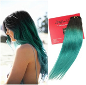 Stella Reina 2 Colours Ombre Clip In Hair Extensions 7pcs/120g Dip Dye Teal Green Real Hair Black Roots with Turquoise Colour Full Head Clips On Natural Remy Human Hair 60cm