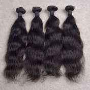 ATOZHair 7A Brazilian Human Hair 4 Bundles Nature Black Nature Wave Unprocessed Hair Extensions 200 Gramme in Total