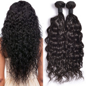 ATOZHair 7A Brazilian Human Hair 4 Bundles Nature Black Curly Wave Unprocessed Hair Extensions 200 Gramme in Total