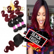 Top Hair 1B/99j Ombre Hair Extensions Brazilian Virgin Hair With Closure 4 Bundles Brazilian Body Wave With Closure 100% Human Hair