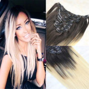 HairDancing 41cm Clip On Extensions Colour #1B Fading to Blonde Hair Colour #613 Blonde Ombre Clip in Hair Extenisons Balayage Ombre Remy Hair Clip Ins 7Pcs 120gram