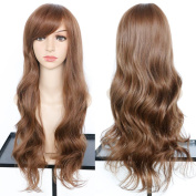 Dreambeauty Long Body Wave Synthetic Wig with Side Bangs for Women Daily Cosplay Party Synthetic Wigs Fashion Hairstyles for Women Natural As Real Human Hair