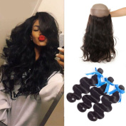 """GEFINE hair 7A Grade Brazilian Virgin Human Hair Body Wave 3 Bundles With 360 Full Lace Band Frontals 60cm x 10cm x 2"""" Lace Band Frontal Closure With Baby Hair 26 26 26+50cm"""