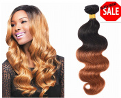YAMI HAIR Grade 7A Brazilian Virgin Hair Weaves Brown Ombre T1B/30 Hot Brazilian Hair Weave Bundles 4 Pcs Virgin Brazilian Hair Body Wave