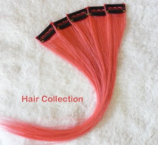 Hair Collection-30cm PINK 100% Human Hair Clip in on Extensions - 4.1cm widex 5pcs