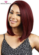 Imcolorful 30cm Short Bob Lace Front Wine Red Wig Heat Resistant Fibre Hair for Women