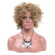 Secretgirl Short Blonde Wigs Women Cosplay Synthetic Hair Fluffy Curly Full Head Wig