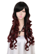 Yuehong Fashionable Full Head Ombre Wig Woman Long Wavy Gradient Colour Heat Resistant Synthetic Hair Cosplay Wig