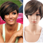 hort Straight Synthetic Hair Extension Two Tone Colour Heat Resistant Fibre Wigs with Side Bangs for Women
