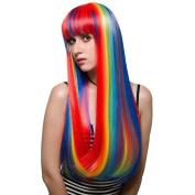 Probeauty Long Straight Rainbow Mix Colour Women Party Wig Flat Bangs