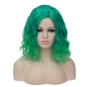 Probeauty Women's Wig Short Bob Dark Root Wig Women's Fashion Top Quality Heat Resistant Synthetic Ombre Black to Dark green Hair Wigs for Women