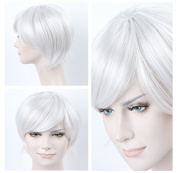 ATOZHair Short Sliver White Wigs Nature Straight with Side Bangs Synthetic Wig