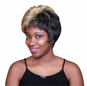 A.Monamour Creative Hair Style Upper Blonde Bottom Black Short Straight Layered Full Wig For Women