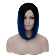 Probeauty Women's Wig Short Bob Dark Root Wig Women's Fashion Top Quality Heat Resistant Synthetic Ombre Black to Dark Blue Hair Wigs for Women