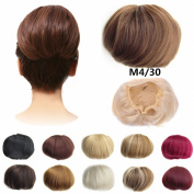 FESHFEN Bridal Hair Bun Updo Scrunchy Scrunchie Hairpiece Wig Hair Ribbon Ponytail Extensions Clips Straight Drawstring Hair Chignons Topknot Knot-M4/30 Medium Brown & Light Auburn Mixed