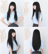 ATOZWIG Sexy Korean Ladies Black Daily Hair Wigs Long Straight Kanekalon Fibre Synthetic Peruca Cosplay Wigs