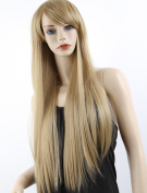 ATOZHair New Arrival Long Straight Light Brown Synthetic Wig with Side Bangs