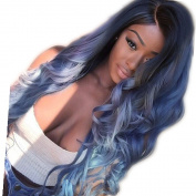 ATOZHair New Arrival Long Nature Wave Omber Dark Blue to Blue Synthetic Wig