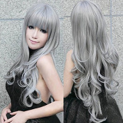 ATOZHair Synthetic Grey Natural Wave Wig High Temperature Fibre with Bangs for Party Cosplay and Daily Use