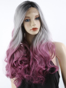 ATOZHair Fashion Lace Front Long Nature Wave Omber Black Root to Grey to Rose Red WigSynthetic Wig