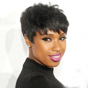 Natural Black Short Fluffy Side Bang Masculine 100% Real Human Hair Wig For Black Women