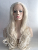 Cupidlovehair 60# Platinum Light Blonde Colour Long Natural BigWave Wavy Synthetic Lace Front Wig