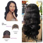 Derun Hair Best Quality 100% Unprocessed Virgin Brazilian Human Hair 130% Density front lace wig 50cm body wave natural colour