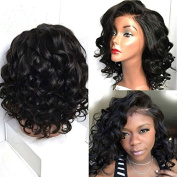 Black Synthetic Lace Front Wigs Short with Bangs for African American Black Women L Part Wig 30cm