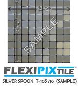 FLEXIPIXTILE, SAMPLE, Aluminium Mosaic Tile, Peel & Stick, Kitchen Backsplash, Accent Wall, SILVER SPOON