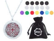 "Aromatherapy Necklace -Mandala Design with Crystals -Essential Oils Diffuser Jewellery 25mm Diameter Surgical Stainless Steel Locket/ Pendant w/ 24"" Chain+17 Aromatherapy Refill Pads -in Silver Colour"