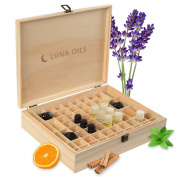 Luna Oils Essential Oil Wooden Storage Box Organiser, Carrying Case, Stores Up to 68 5-15 mL Bottles