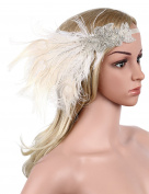 Babeyond Women's Peacock Gatsby Party Wedding Headband with Ribbon Flapper Costumes Accessories Peacock Headband with Feather Apricot