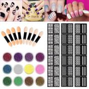 Sinsun Nail Chrome Powder 12 Colours Chrome Powder, 8pcs Sponge Stick Manicure DIY Kit, Nail Vinyls Pack 36pcs Stickers for Nail Art Design