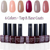 Gellen UV Gel Nail Polish Kit 6 Colours + Base & Top Coats, Pastel Colours Manicure Starter Kit -