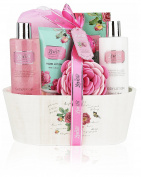 English Rose Spa Gift Set By Lovestee - Bath and Body Gift Basket, Gift Box, Includes English Rose Shower Gel, Sensual Body, Lotion, Hand Lotion, Bath Salt, Bath-Body Sponge and EVA Sponge