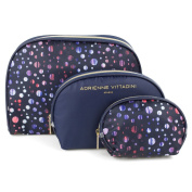 Adrienne Vittadini Women's three Dome Shaped Cosmetic Bag Set
