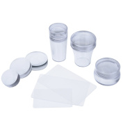 eBoot Clear Nail Art Jelly Stamper Plate Scrapers Set, 3 Different Stamper and 3 Different Replaceable Silicone Heads