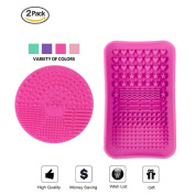 ESARORA Makeup Brush Cleaning Mat, Makeup Brush Cleaner, Makeup Brush Cleaning Mat & Makeup Brush Cleaning Plate Portable Washing Tool More Easy to Clean Makeup Brush (Rose Red)