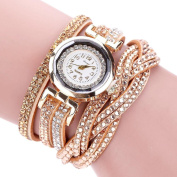 Binmer(TM) Duoya Brand Watches Women Luxury Crystal Women Wristwatch Rhinestone Clock Gold Bracelet Quartz Ladies Dress Gift Watches