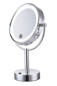 Cerdeco 22cm Two-Sided Tabletop Makeup Mirror 5X Magnifying LED Lighted CosmeticMirror Battery Operated Polished Chrome Finished