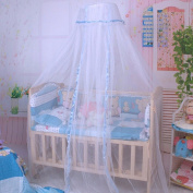 EITC Baby Crib Mosquito Net Tent Infant Bed Canopy Crib Netting Stand Kids Baby Bed Accessories Hung Dome Floor White Net Summer Blue