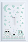 Single Toggle Grey and Seafoam Green Owl Light Switch Plate Covers / Owl Nursery Decor