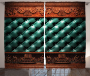 Ambesonne Victorian Decor Collection, Wooden Ornament on Leather Couch Bed Headboard Panel Wood Moulding Plaque Print, Living Room Bedroom Curtain 2 Panels Set, 270cm X 210cm , Light Sea Green